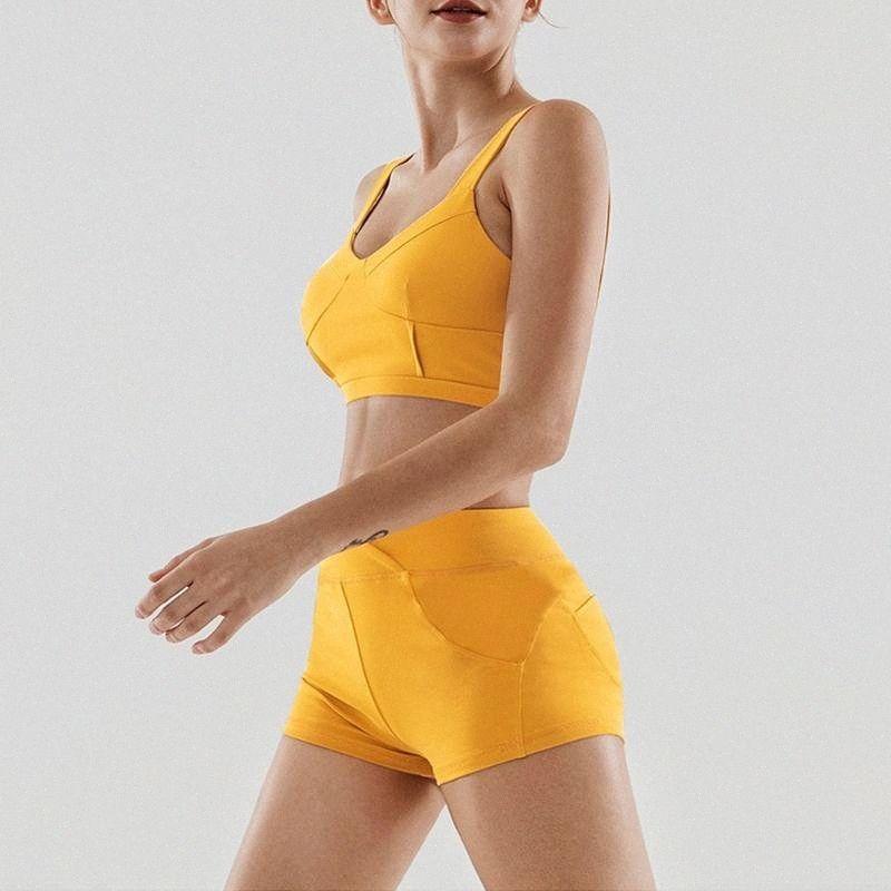 Mulheres Yoga Set Impacto acolchoado Sports Bra Sem Jantes Roupa interior Ginásio Leggings Set Calções de corrida Praia Pants Suit Sport 1Ep8 #