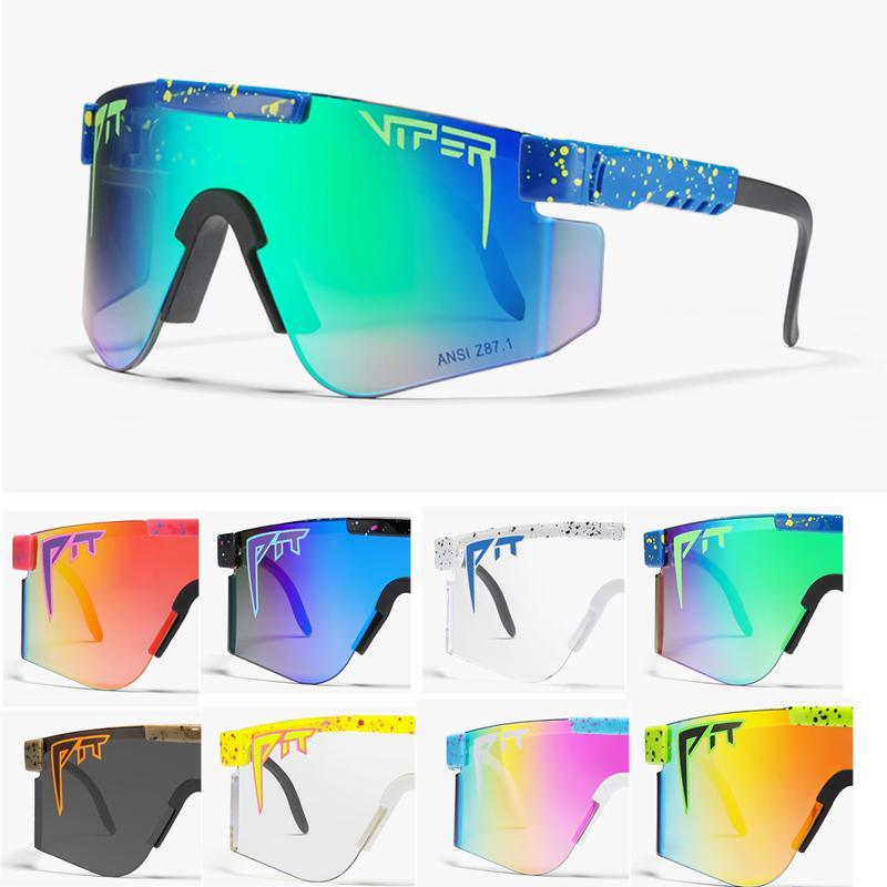 Gläser Rosa High gespiegelt Radsportbrillen Neue Qualität Übergroße Sonnenbrille Sport Pit Objektiv 2020 Rahmen UV400 Schutz Männer Viper Rot Tr CRCV