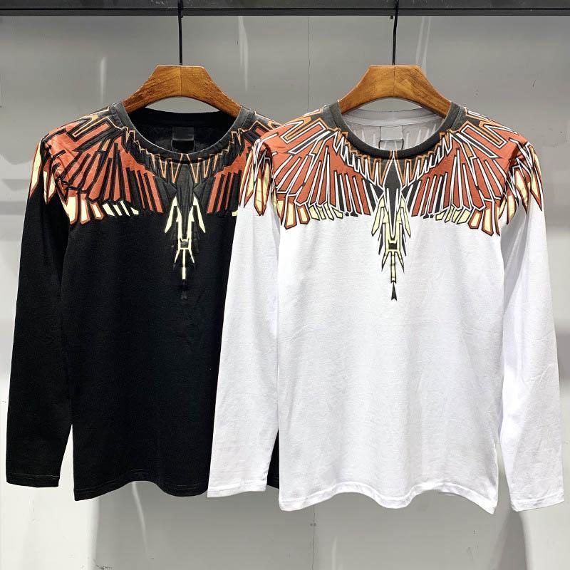 Heißer Verkauf neuer Modetrend Flügel T-Shirts Männer-T-Shirts Sommer-Designer-T-Shirt Rundkragen lange Hülse beiläufigen Hip Hop-Straße Paaren der Männer-T-Shirt