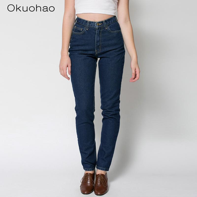 Женская высокая талия Straight Jeans 2020 помыли вскользь шаровары мама Проблемные Полная длина Denim брюки CX200721