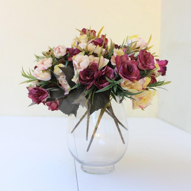 La flor artificial de seda Estilo Retro Rose alta calidad Rose Bouquet falso flores decoración de la boda del partido Inicio