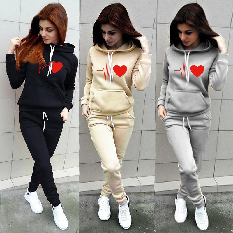 Two Piece Set Women's Tracksuit Casual Pullover Hoodie + Pants Sportswear Clothes For Women Sweatshirt Feminino Ropa De Mujer T200721