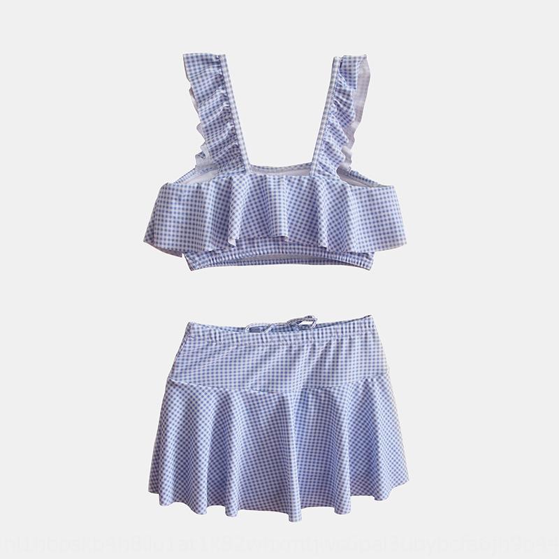 2019 de Moda de Nova dividir infantil envolveu-peito Bikini Swimsuit babados maiô pugilista saia biquíni infantil