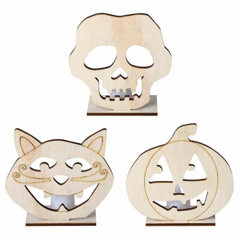 Holz-Halloween-Schädel-Kürbis-Anhänger W / LED Candlelight Home Decor Craft J4Ru #