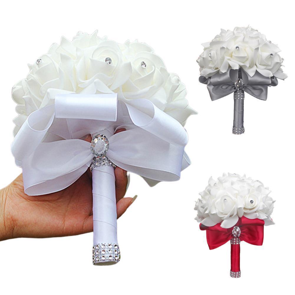 Fita nupcial Pedrinhas Falso Artificial Flower Bouquet Wedding Decor Banquete de material de alta qualidade com acabamento fino