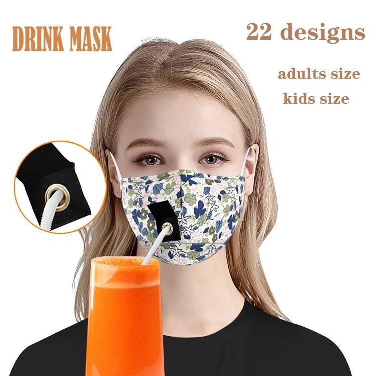 22 estilos Face MAKS ADULTOS Niños Mascarilla para beber con agujero para la máscara del diseñador de paja Aparato de polvo Diseñador Máscara de algodón boca máscaras cara