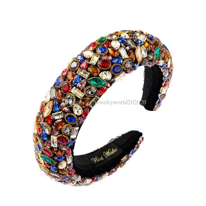 Cristal colorido precioso venda ancha de la mujer exagerada geométrica del Rhinestone Hairband esponja Mujer del partido del casco