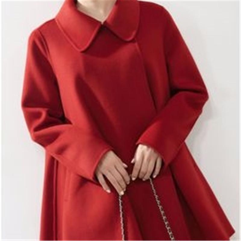 2020 cubre a la hembra de la chaqueta del color sólido Señora Capa Temperamento prendas de vestir exteriores de la muchacha de alta calidad superior de la nueva mujer de otoño Moda paño de lana