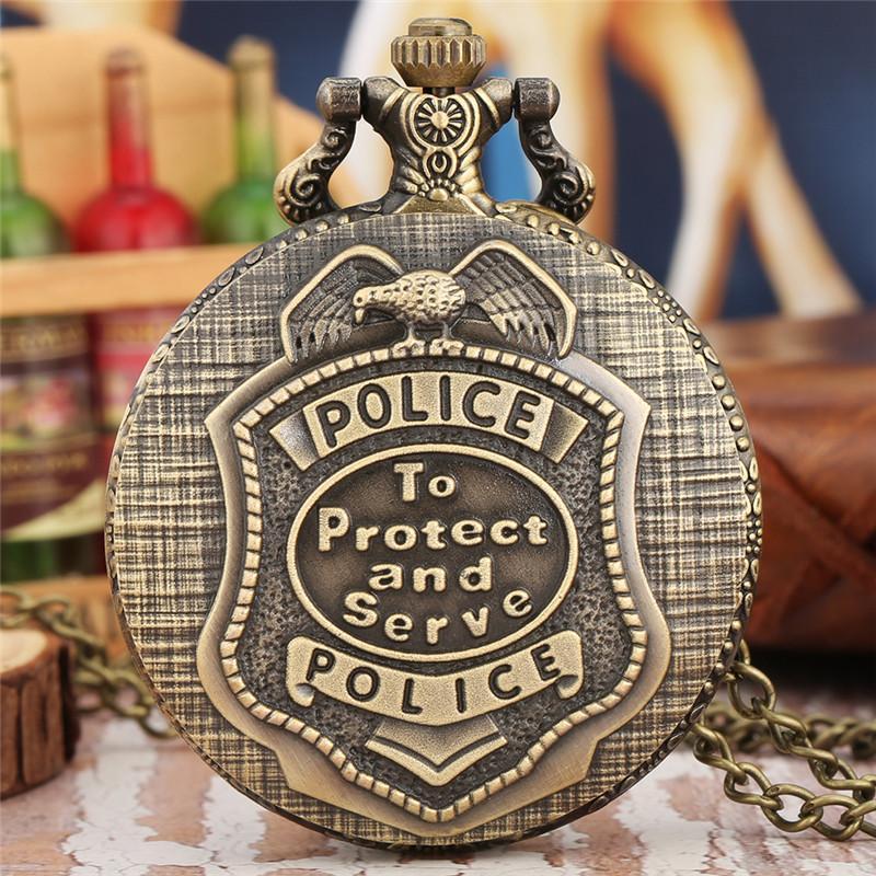 Retro Vintage POLİS koruyun ve kolye Zinciri Timepiece Hediyesi Tasarım Pocket Saat Analog Kuvars Saat Serve için