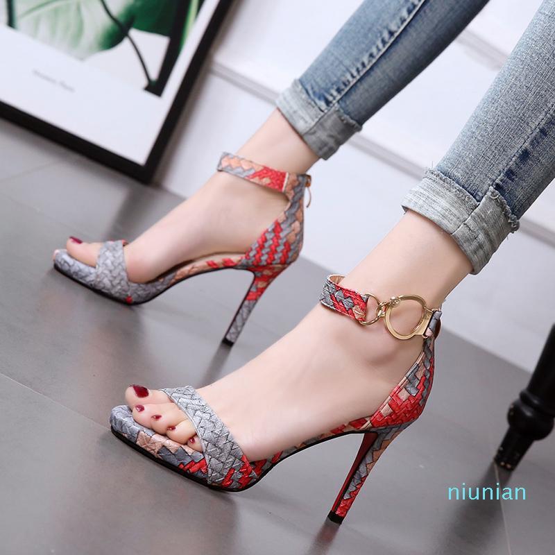 Sıcak Satış-Kırmızı Alt Yüksek Topuklu Güzel Renk Baskılı Dokuma Örme Sandalet Kadınlar Yaz 9 cm Boyutu 34 - 39