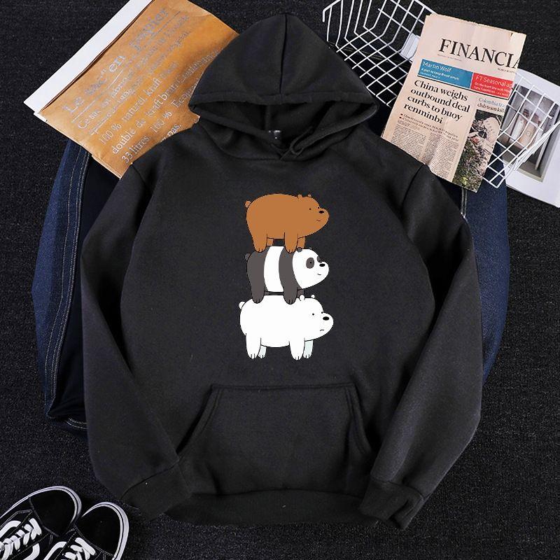 Otoño de manga larga de dibujos animados femenina suéter de la tapa tres osos pierden la moda suéter de cuello redondo superior