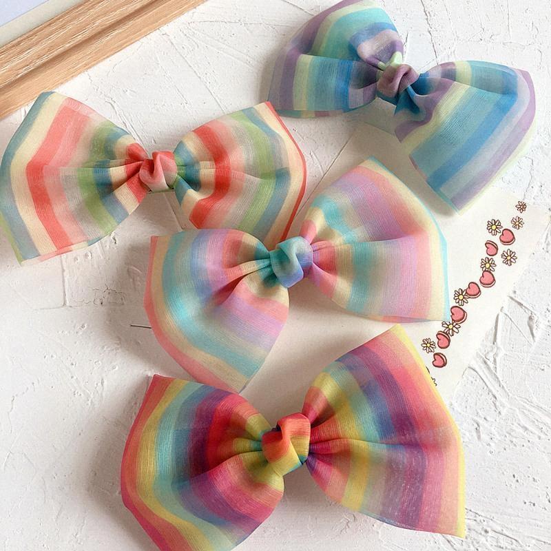 2020 Nouvelle Corée du style doux Trendy arc-en-rayures Enfants Bow Hairpin Mignon simple pince à cheveux pour fille Accessoires de mode cheveux Childre qIu0 #