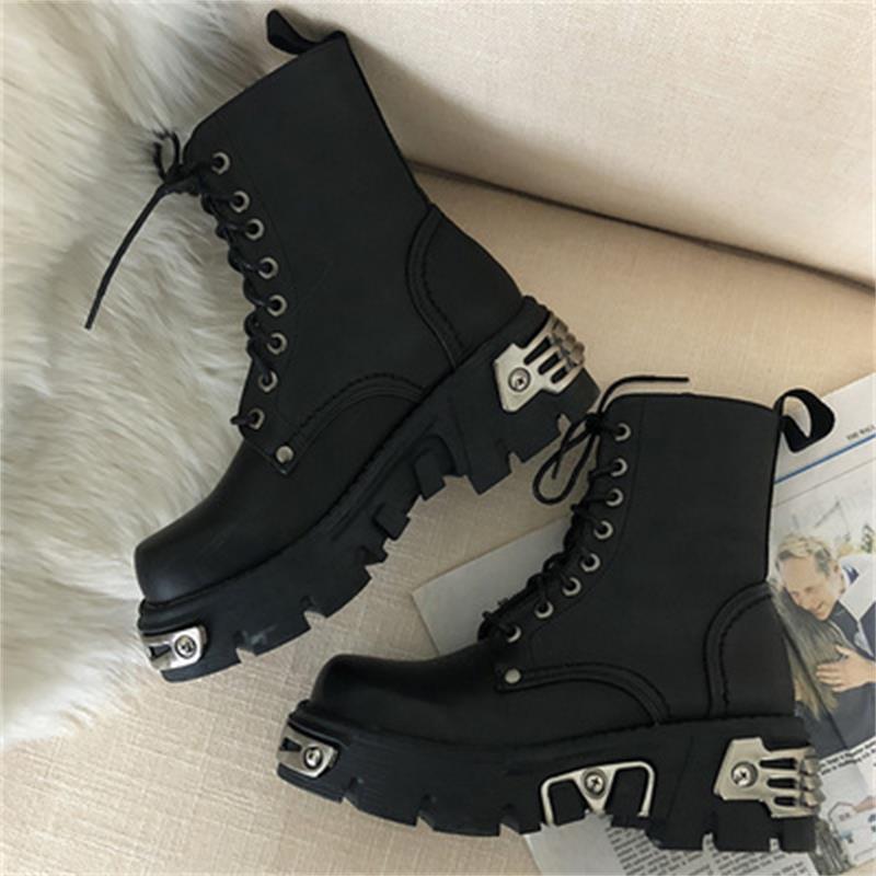 Style Punk Plate-forme Femmes cheville Bottes botte de moto Femmes Femmes Chaussures Chunky Décor Black Metal taille BIG 41 43 44