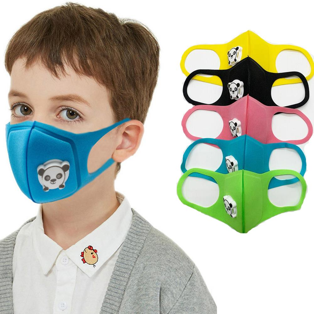 Maschera per bambini Unisex Spugna antipolvere PM2.5 Inquinamento Mezzo viso Maschera per la bocca con la valvola respirata lavabile riutilizzabile maschera viso riutilizzabile