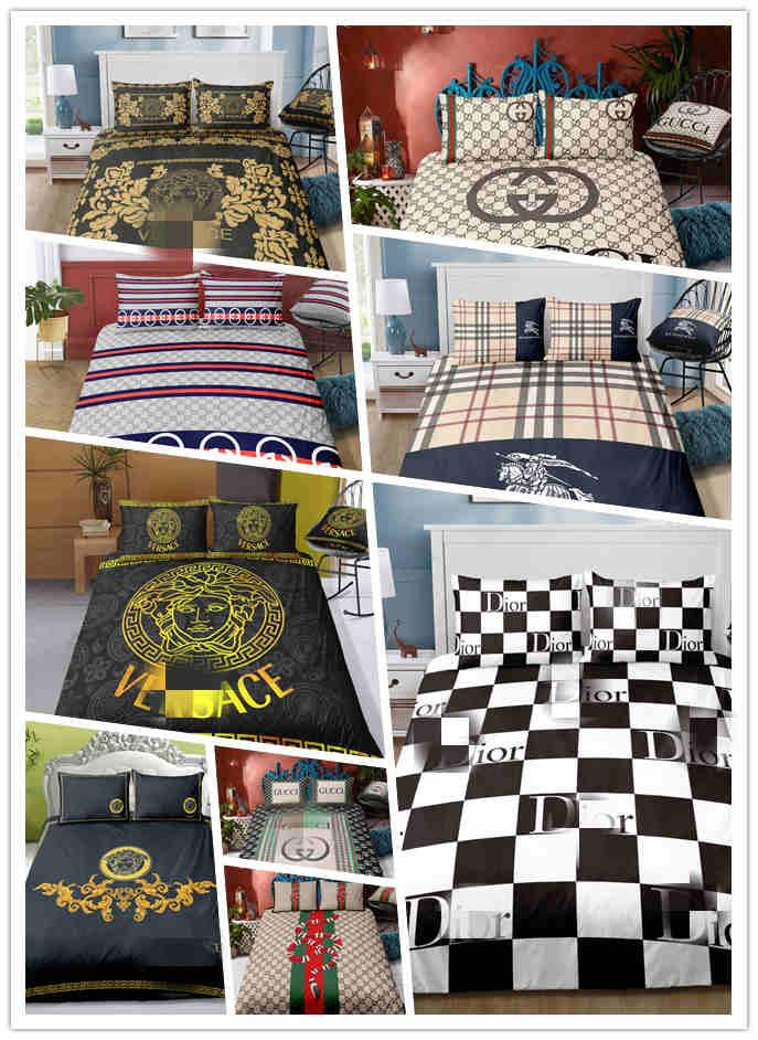 Hot sale fashion Bedding set with letters duvet cover set with pillowcases full queen king 2/3pcs