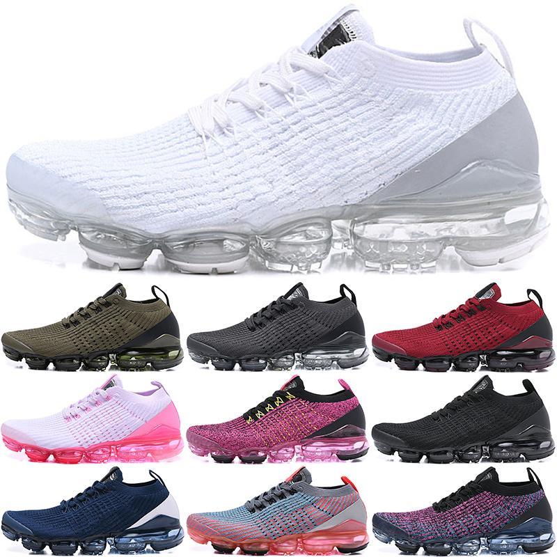 2021 Chaussures Laceless 2.0 Chaussures de course Triple Black Designer Mens Femmes Sneakers Fly Blanc Tricot Coussin Entraîneurs Zapatos