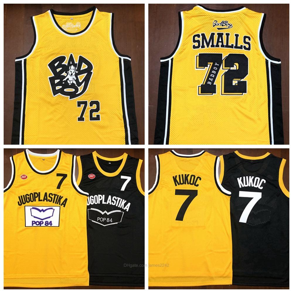 Jersey de basketball pour hommes Toni Kukoc # 7Juzlastika Yougoslavie Badboy # 72 Biggie Smalls Notorious B.I.G. Cousu Bad Boy Jerseys S-3XL