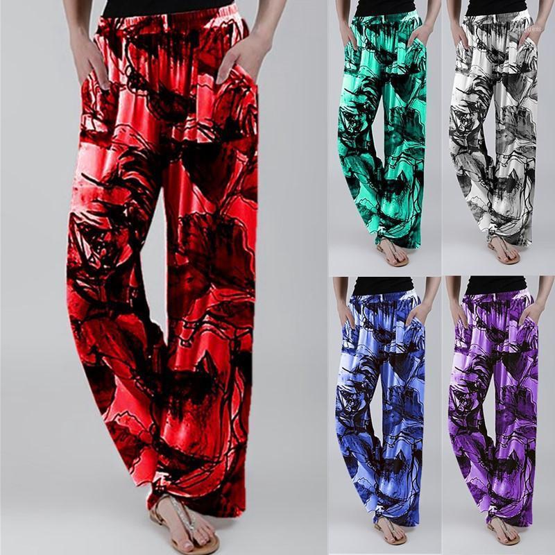 Lange Hose 20ss neue Frauen-Designer-Hosen-Frauen-Sommer-lose Hosen-beiläufige elastische Taillen-Blumen gerade Hosen