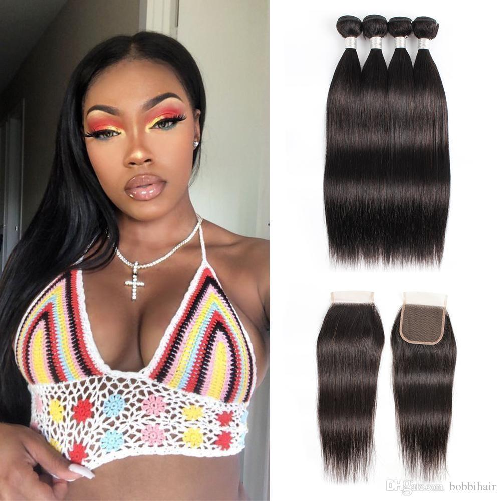 Em linha reta cabelo humano brasileiro Pacotes com fecho Remy extensões de cabelo natural cor 3 ou 4 pacotes com 4x4 Encerramento 10-28 Inch Atacado