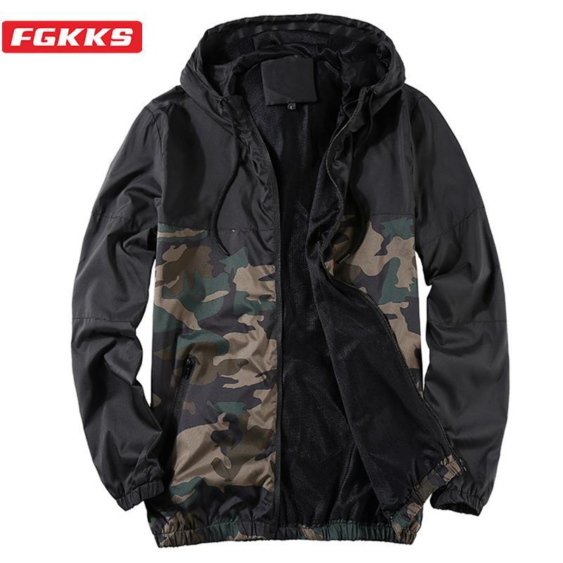 FGKKS Мужская мода дышащая куртки осени лета Мужской вскользь с капюшоном пальто куртки мужчины Легкомысленная ВС Защита Куртки CX200730
