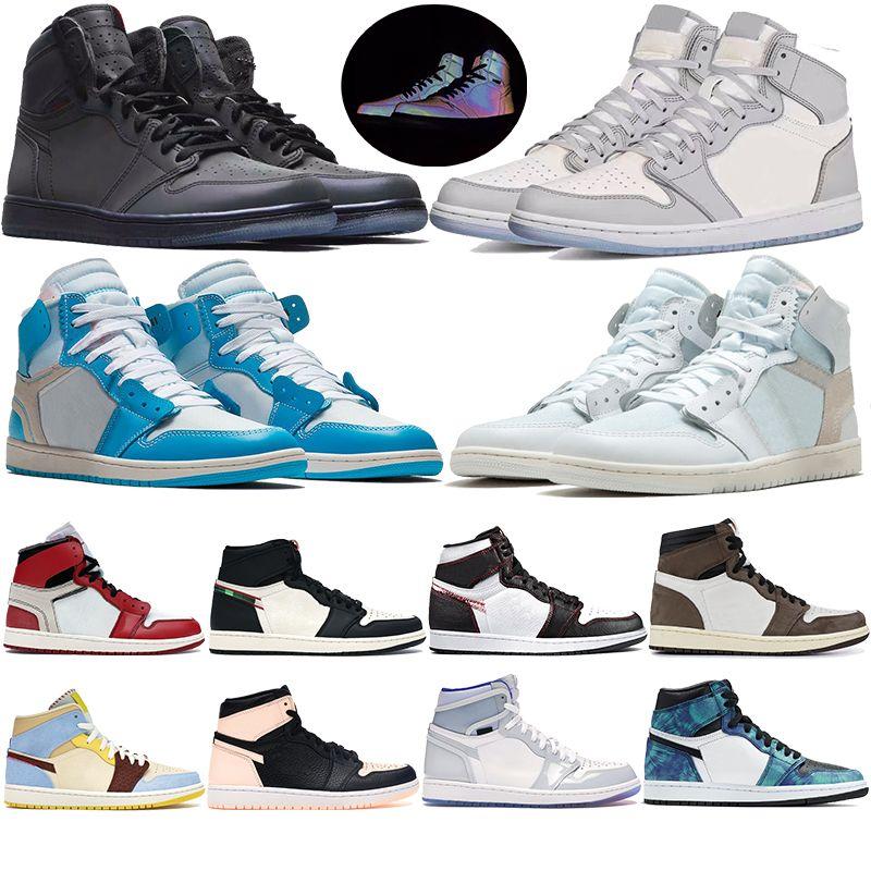 مسحوق أعلى جودة 1 أبيض UNC أحذية كرة السلة الزرقاء الرجال النساء شيكاغو الذئب الرمادي الشراع الحيوي البيج 1S رجل مدرب رياضي الرياضة أحذية رياضية