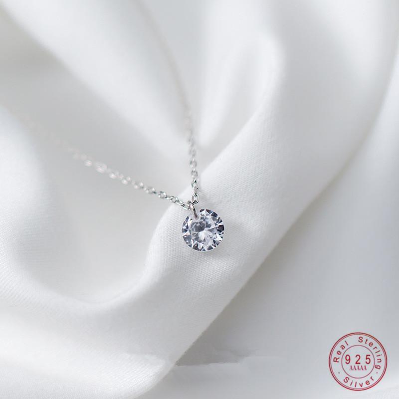 WANTME real 925 collar de plata esterlina joyas de moda simple Ronda de cristal de circón colgante de cadena para muchachas de las mujeres envío de la gota