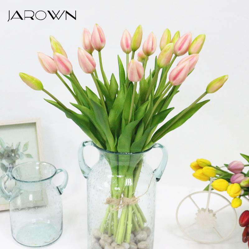 JAROWN Simulation de Real Tulip artificiel de haute tactile qualité latex Tulipe Bouquet Flores pour la décoration de mariage Décoration d'intérieur