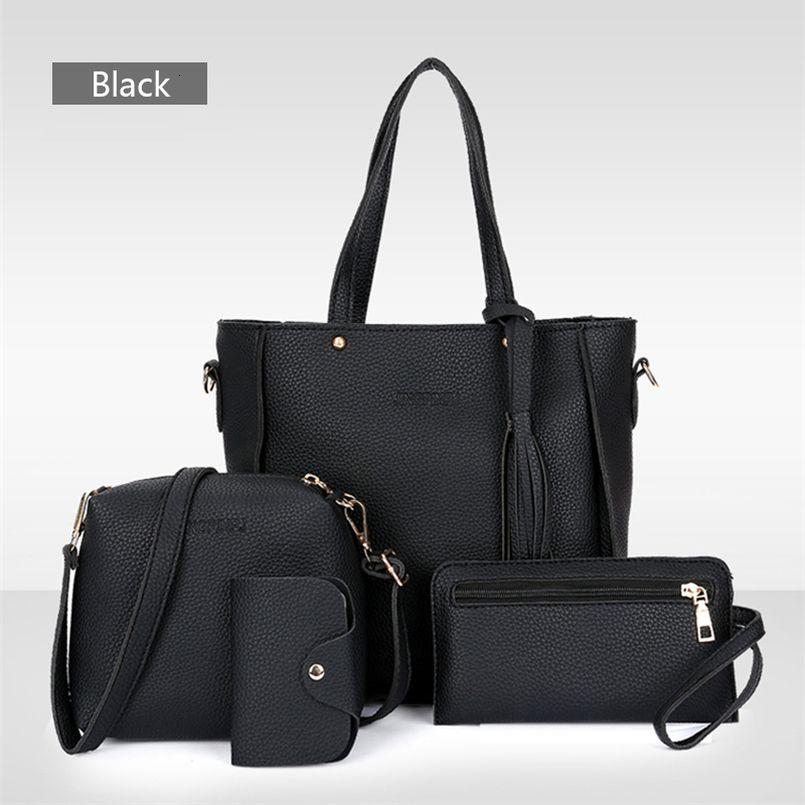 Envío de la gota 4 piezas Conjunto bolso llano PU de las mujeres de cuero bolso A435 Envío de la gota de la buena calidad