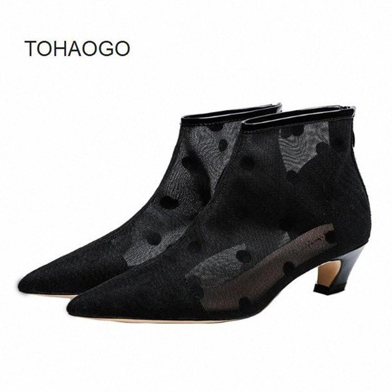 Summer Mesh Booties Hollow Breathable Cool Boots Pointed Crude Heel Mid Heel Women Boots Damski Boty Bottes Femmes Ankle Girls Boots B dvnI#