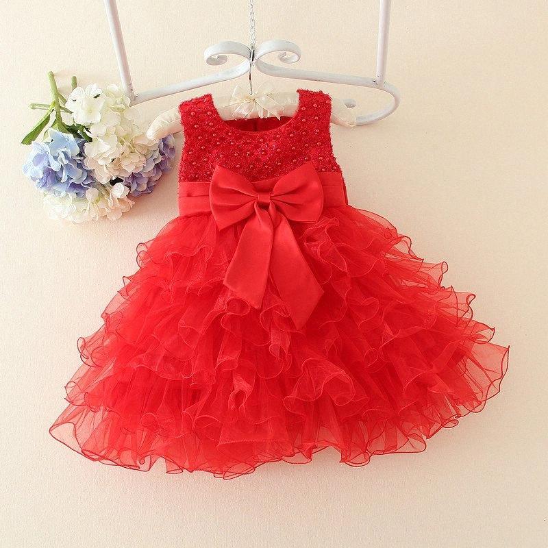 Toptan-Kırmızı Bebek Noel Elbiseleri İçin Kız Dantel İnciler Kız Vaftiz Elbise Bebek Kız Tutu Elbise Çocuk Çocuk Tatil clothin Dw9S #