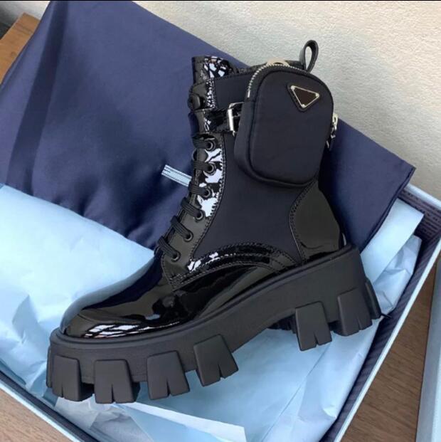 Top-Qualität PRABRANDS 2020 New Martin Stiefel Damen-Taschen-Beutel Muffin Platform Ankle Boots Mid-Rohr Knight Boots Motorrad Schuhe