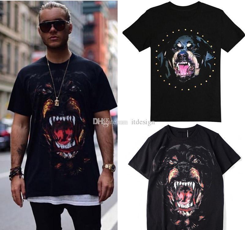Venda quente impresso Rottweiler Cabeça de cão Cotton Jersey T-Shirt For Men Moda Design Rua T-Man Efeito Vintage