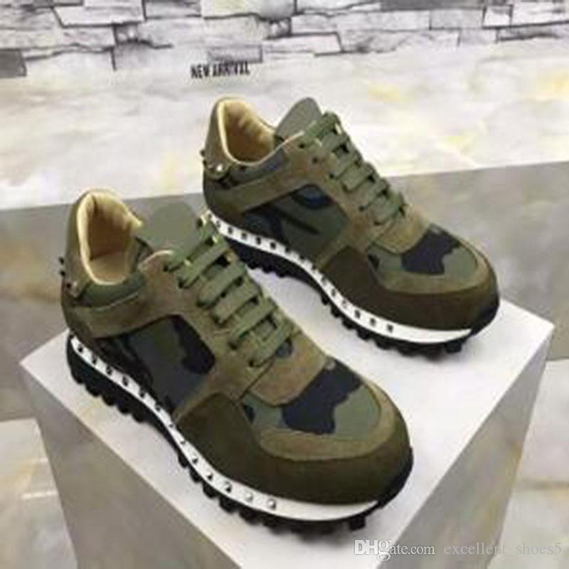 High Quality shoes Runner studded trainers Shoes Women Men Rockrunner Women Men platform sneakers Casual Walking Flats Size 36-46 gg7