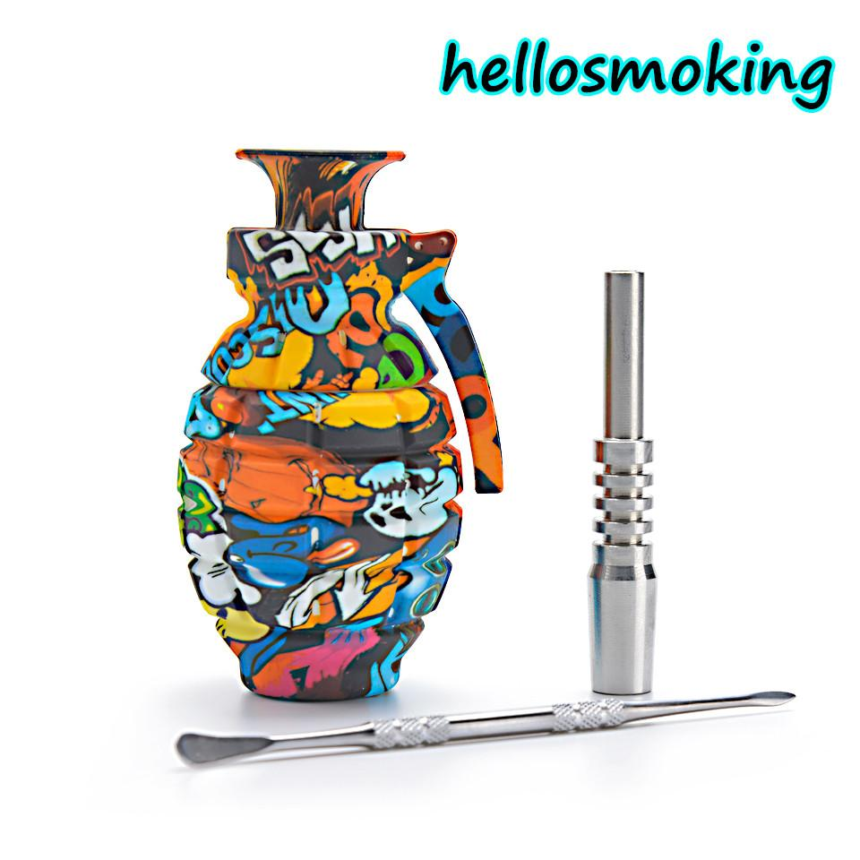 Grenade Silicone 14mm Nectar Collector with Stainless Steel Tip smoke pipe smoke accessory dab oil rig glass bong