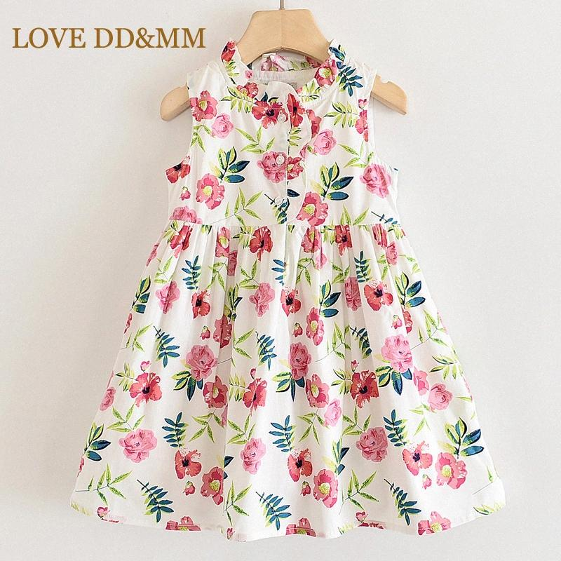 AMOUR DDMM filles Robes 2020 Nouveau col rond Vêtements enfants de fleur Princesse Robe Vêtements d'enfants pour fille CWVX #