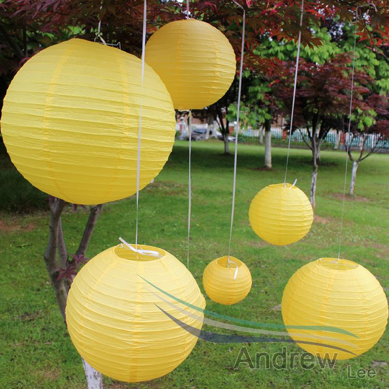 HAOCHU 7pcs/set Mixed Sizes(10cm-40cm) Yellow Color Paper Lanterns for wedding party decorations round paper lantern cheap sale!