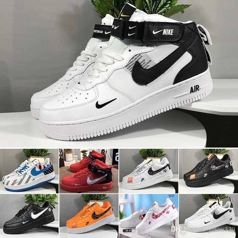 Sale 2019 New Design Forces Men Low Skateboard Shoes Cheap One Unisex 1 Knit Euro Air High Women All White Black Red Sise 36-45 T55DC