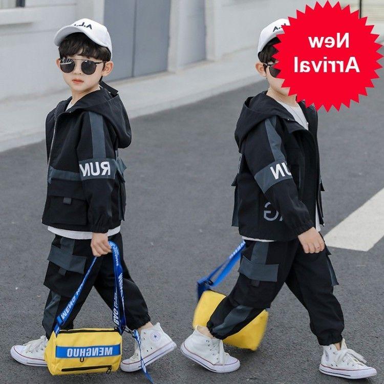 мальчиков костюм горячей 4-13 лет хлопка Contrast большой карман случайный двухсекционный костюм Рюкзак бутик детской одежды с капюшоном