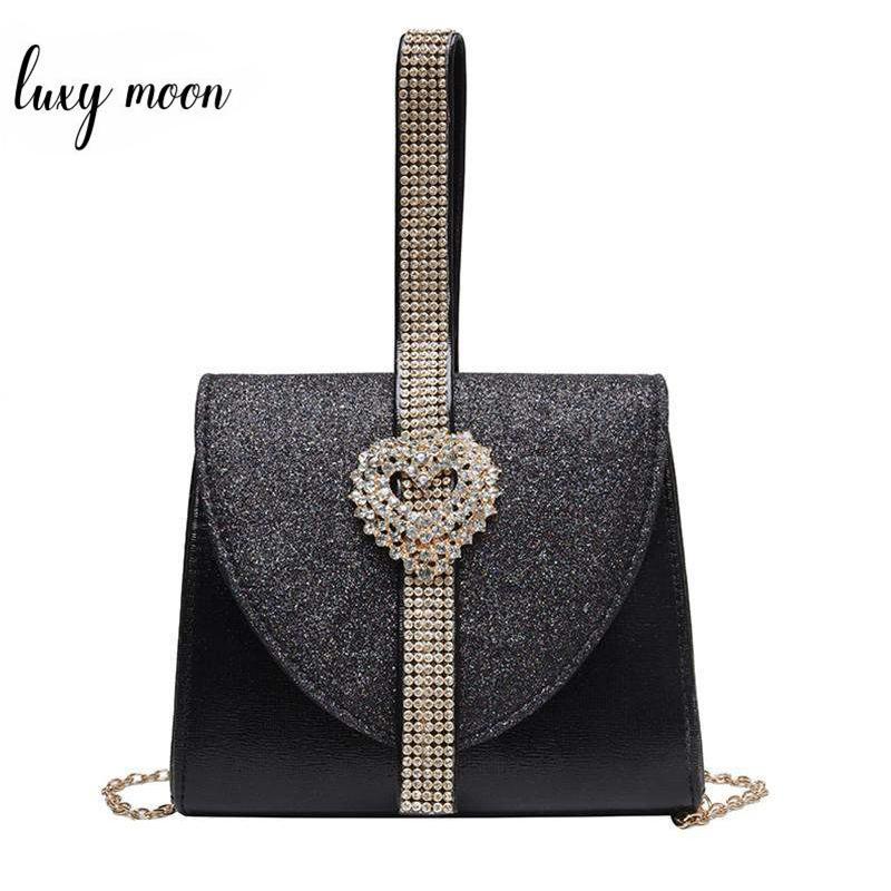 Luxy Luna donne della borsa di cuoio di lusso del diamante della borsa della frizione per la festa nuziale Borsa a tracolla con cuore di cristallo decorazioni ZD1490