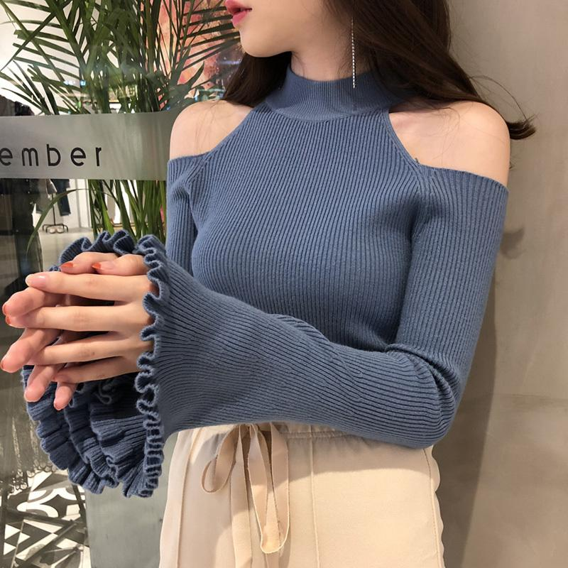 Sexy off shoulder Flare Sleeve women thin sweater knit sweater women Computer Knitted Turtleneck Pullovers tops Black white T200803