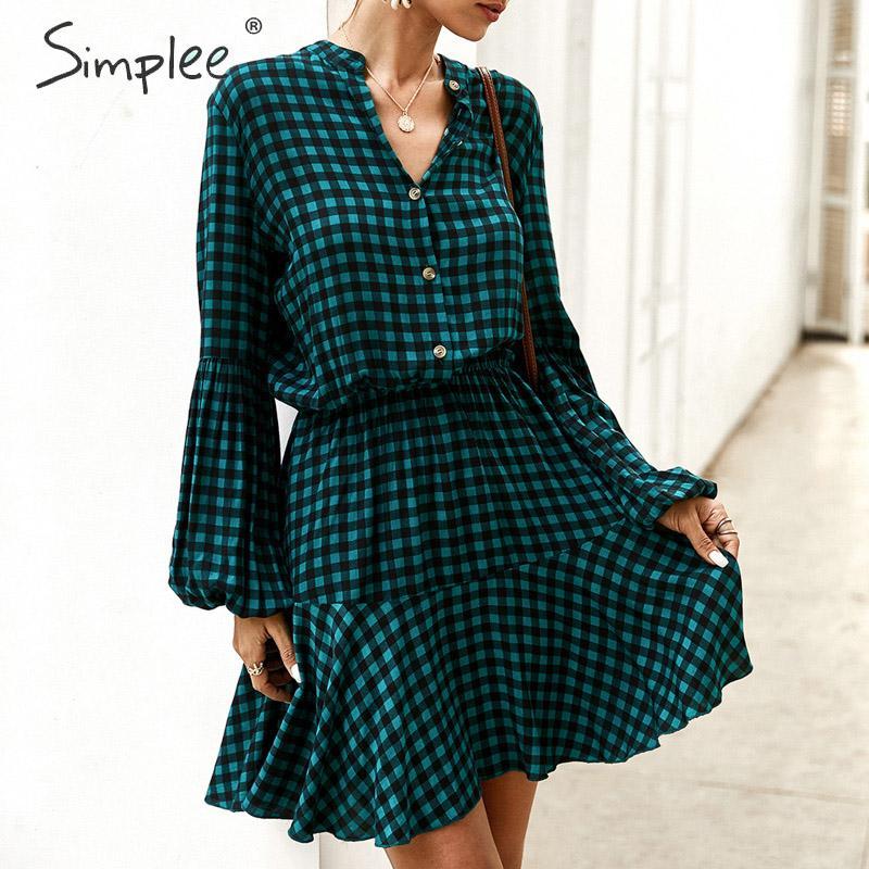 Simplee Streetwear kadın ofis elbise Fener Mini 2020 Retro kayış yay ekose elbise Çalışma aşınma bayan gömlek yaka karıştırdı