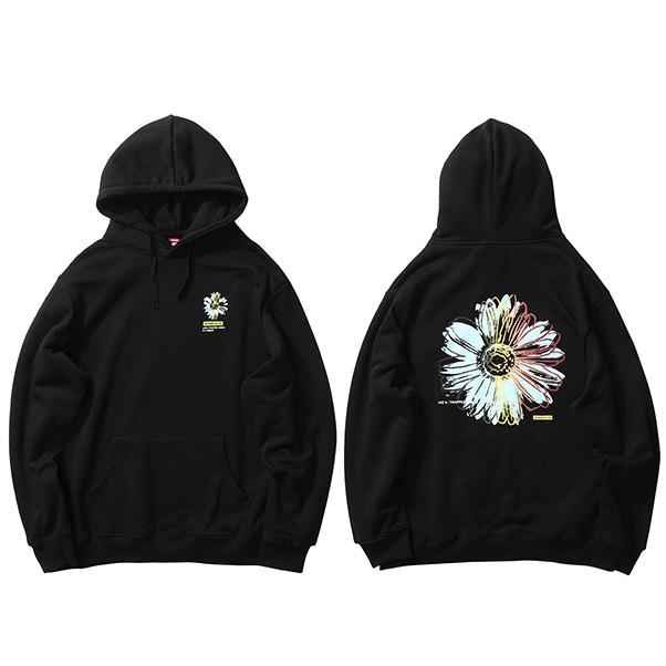 2020 Streetwear Hip Hop con capucha de flor de la margarita impresión de invierno polar suéter de algodón floral de Harajuku suelta la camiseta