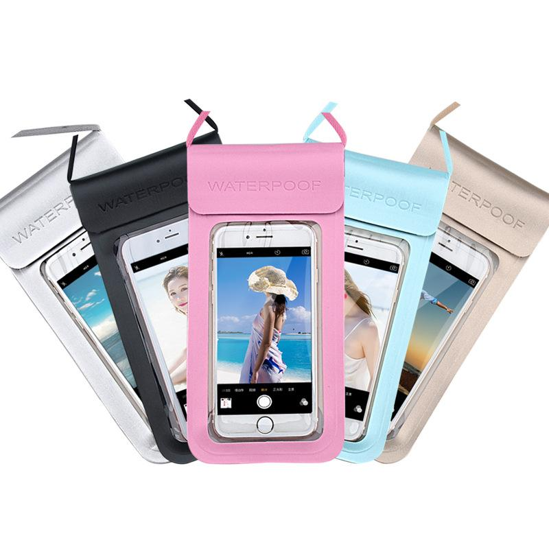 Summer Outdoor Dry Bag Transparent Waterproof Bag PU Protective Phone Case Pouch with Compass Pouch for Diving Swimming Sports