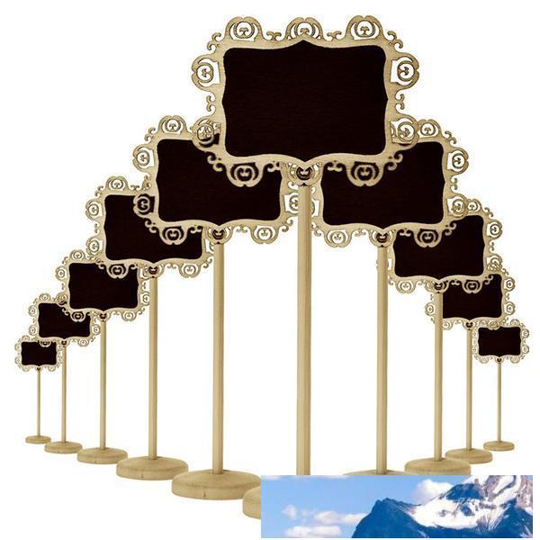 الإبداعية خشبي الجوف البيضاوي على شكل قلب البسيطة السبورة السبورة الخشب على عصا حامل حامل الجدول عدد زفاف الأطراف الديكور