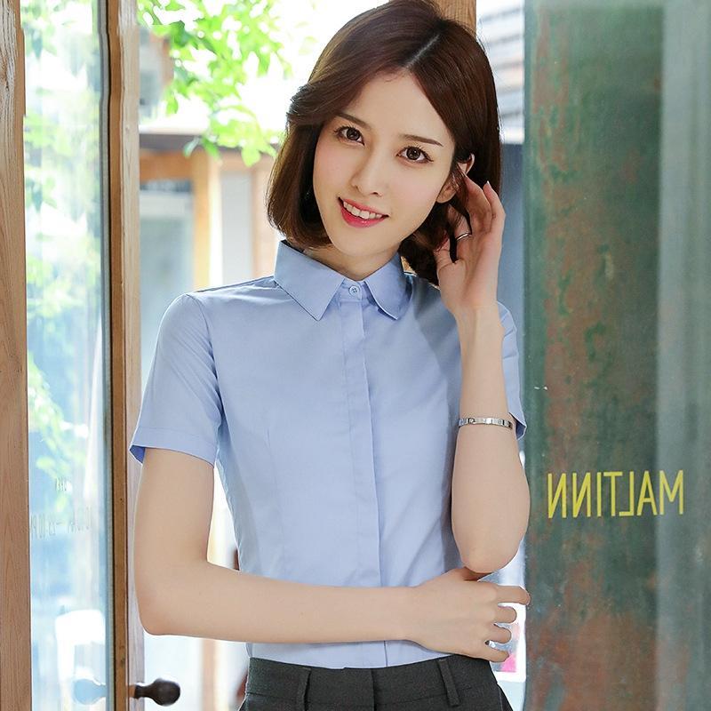 ptfvn Yaz Kadın Bel geçirmez kısa kollu 2020 yeni Kore tarzı iş abiyeler ince uygun ol gömlek profesyonel Gömlek işe gidiş-geliş