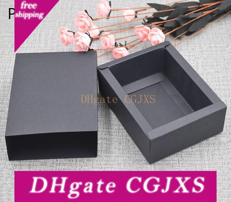 Blank Elegant Black Cookie Gift Paper Box Kraft Macaron Chocolate Snacks Sweet Candy Packaging Storage Boxes For Soap Packing