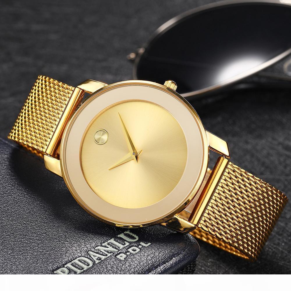 MISSFOX 40MM Damen Uhren Minimalist ultra dünne Stahlmatten-Uhr-beiläufige Art und Weise wasserdichte Gold 18K-Dame-Quarz-Uhr-Mädchen