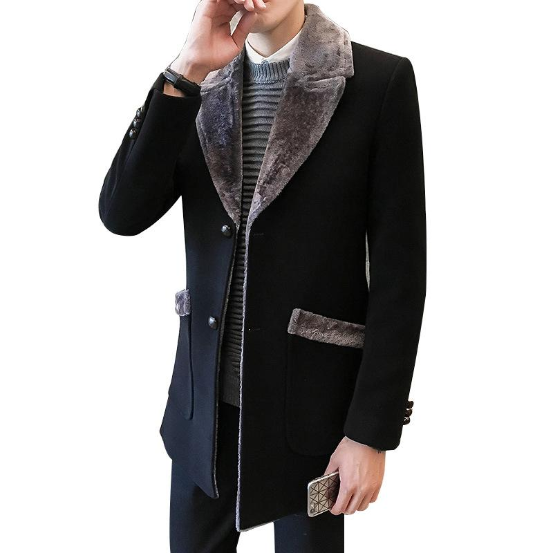 Мужские шинелях Winter Casual Ветровка мужская куртка длинный отрезок Большой меховой воротник куртки для мужчин Бизнес Повседневный Теплое шерстяное пальто