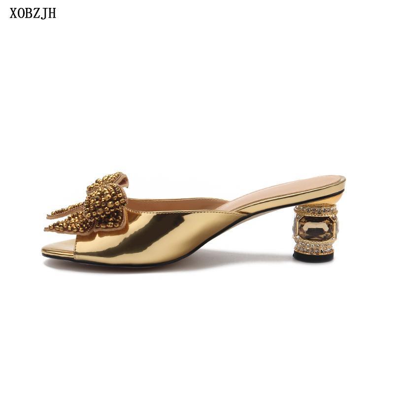 Marca Sandali di lusso 2019 pelle Tacchi signore breve Wedding Party Open Toe scarpe da fibbia donne più il formato Y200620