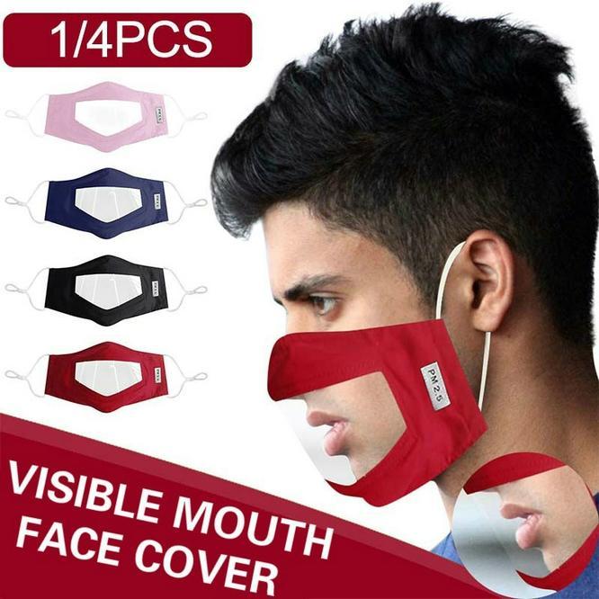 Máscaras para as máscaras Deaf reutilizável rosto com cMIKf PVC transparente janela Máscara Adultos Rosto Máscaras visibilidade top confortável e respirável